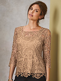 Metallic Lace Square Neck Top