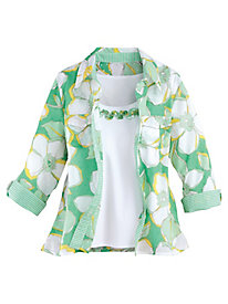 Bahama Bays Floral 2-in-1 Top By Alfred Dunner®