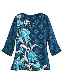 Geometric Floral Top By Alfred Dunner®