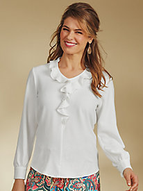 Long-Sleeve Crepe Ruffle Blouse