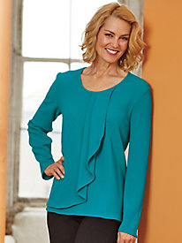 Long-Sleeve Pleated Front Crepe Blouse