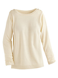 Button Accented Boatneck Sweater