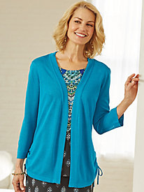 Side-Gathered Cardigan By Southern Lady