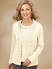 Rhinestone Twinset Sweater By Sag Harbor®