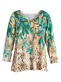 Emerald Isle Print Sweater By Alfred Dunner®