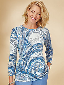 Silver Belles Paisley Sweater By Alfred Dunner®