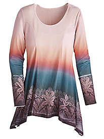 Long-Sleeve Sweater Ombré Top By One World