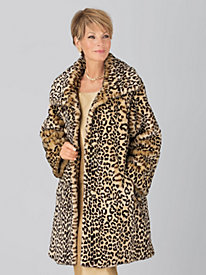 Vicki Wayne® Faux-Leopard Fur Pants Coat