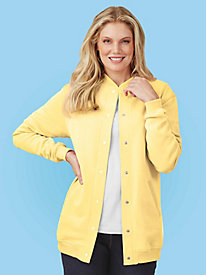 Vicki Wayne® Fleece-Knit Baseball Jacket