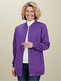 Fleece Knit Baseball Jacket