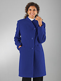 Crossover-Neckline Wool-Blend Coat by Mark Reed®