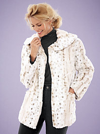 Zig-Zag Patterned Faux Fur Coat