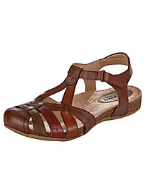 Tipper Style T-Strap Leather Sandals by Earth�