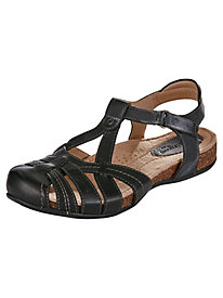 Tipper Style T-Strap Leather Sandals by Earth®