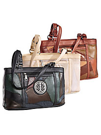 Patchwork Leather Tote By M.C. Collection