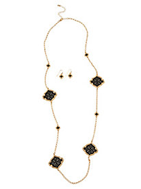 Long Filigree Necklace & Earrings Set