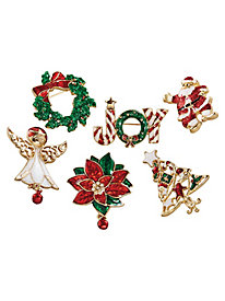 Set of 6 Holiday Pins