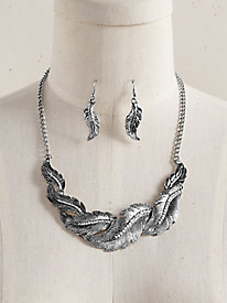 Textured Feather Design Necklace & Earring Set