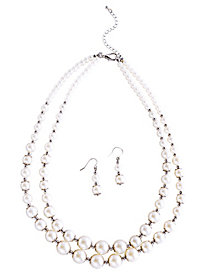 Double Strand Pearl Necklace and Earring Set