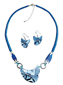 Leaf Pendant Beaded Necklace Set