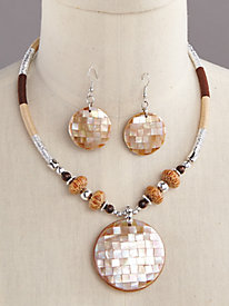 Round Pendant Necklace Set