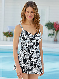 Intermingle V-Neck Swim Dress by Penbrooke�
