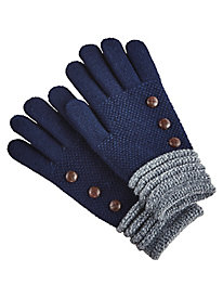 Button Detail Knit Gloves