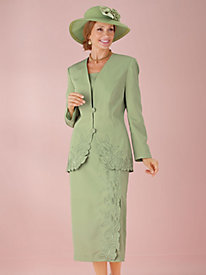 Embroidered Suit with Faux-Wrap Skirt