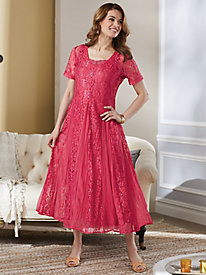 Lace Dress With Godets from Signature Collection