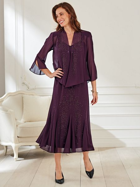 Beaded Georgette Jacket Dress | Blair