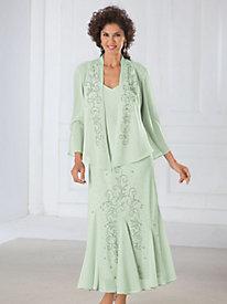 Beaded Georgette Jacket Dress