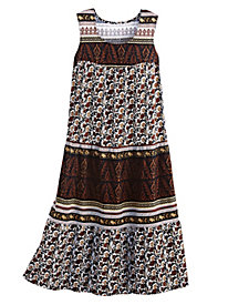 Border-Print 100% Cotton Sundress by Old Pueblo Traders