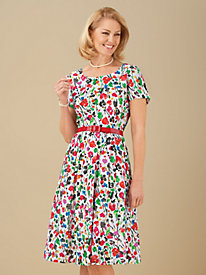 Floral-Print Dress with Belt From Signature Collection by Vicki Wayne®