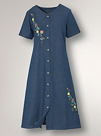 Cotton Denim Dress with Embroidery