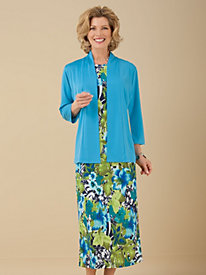 Floral-Print Knit Jacket Dress from Signature Collection by Vicki Wayne®