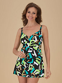 V-Neckline Swimdress by Penbrooke®