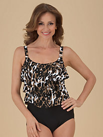 Triple-Tiered Leopard-Print Swimsuit by Penbrooke®