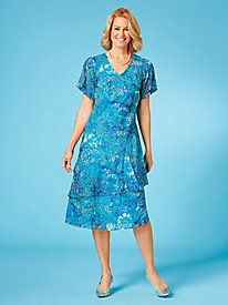 Tiered Tropical Print Dress