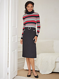 Yarn-Dyed Knit Sweater Dress with Ponté Skirt