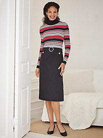 Yarn-Dyed Knit Sweater Dress with Ponté Skirt