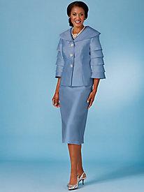 Flounce Sleeve Skirt Suit