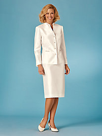 Chain Accented Skirt Suit