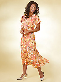 Desert Sunset Printed Capelet Dress