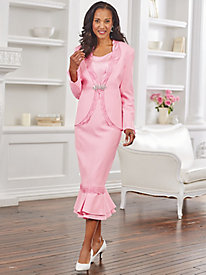 Satin-Trimmed Skirt Suit By Regalia®