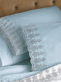 Private Essential 412 Thread Count Wrinkle Free Lace Flat Sheet
