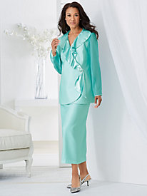 Satin-Trim Skirt Suit