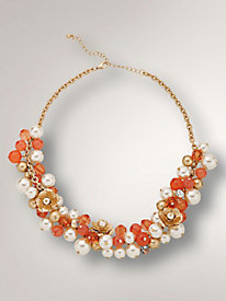 Coral-Toned Floral Beaded Necklace