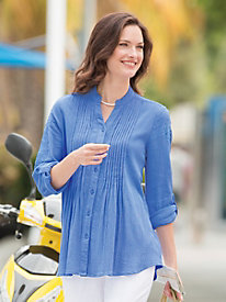 Embroidered Crinkle Tunic