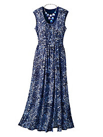Night-Skies Print Maxi Dress
