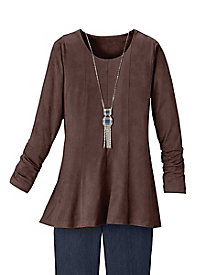 Poetic Lines Knit-Suede Tunic